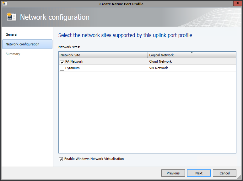Associate Network Site with Uplink Port Profile