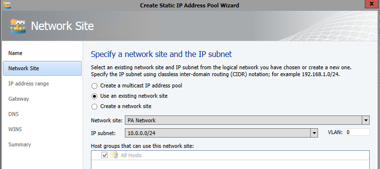 Associate Pool with Network Site