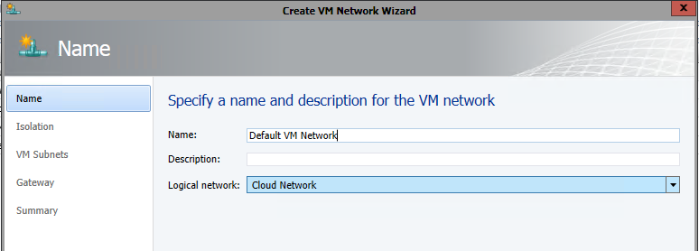 Create Default VM Network