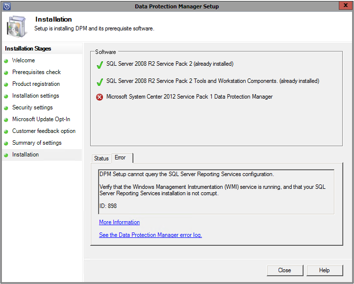 SQL Server Reporting Services error installing DPM 2012 SP1 with