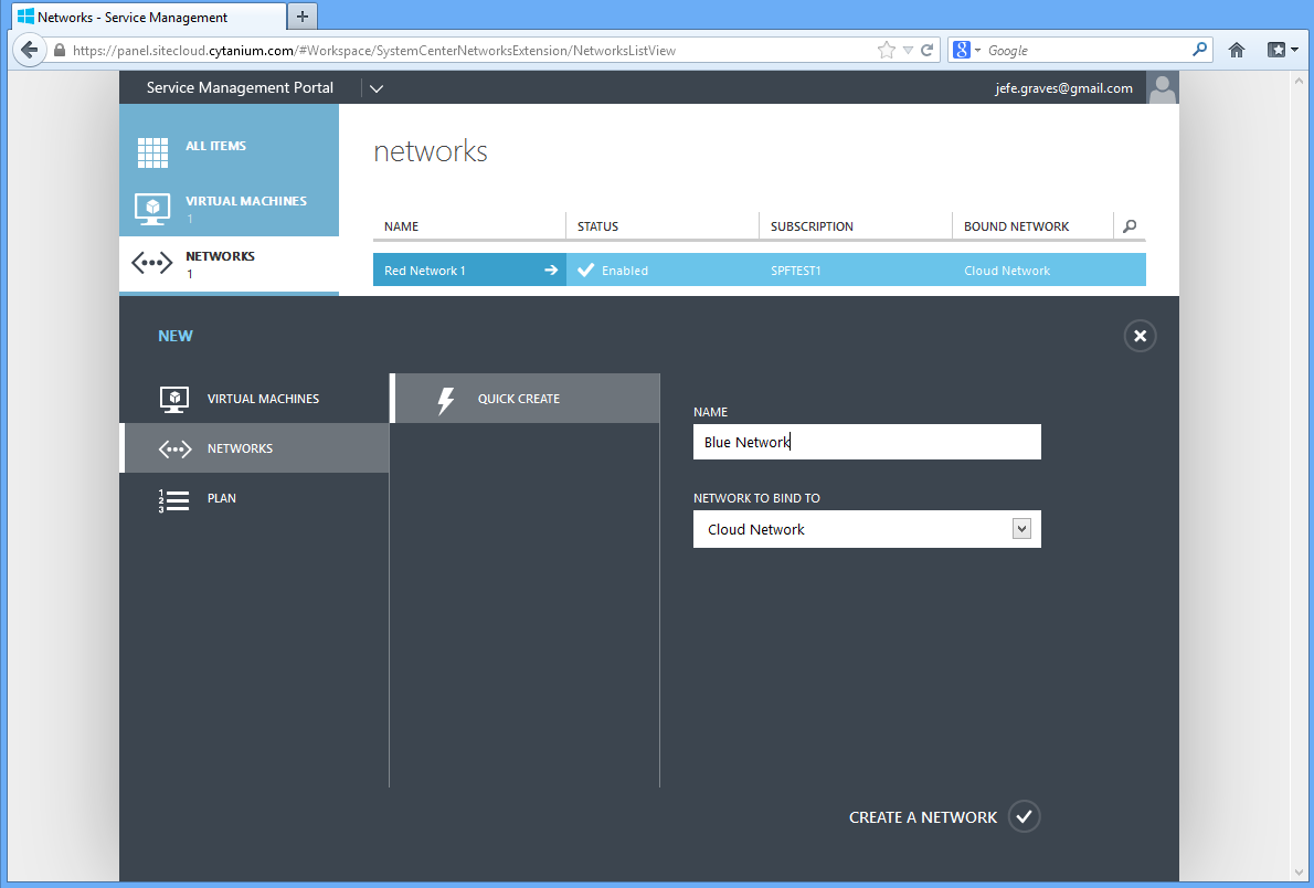 Service Management Portal Create Network