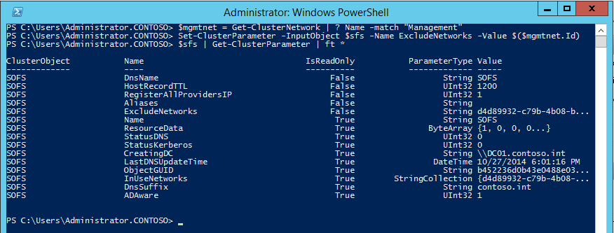 Powershell cluster set-parameter
