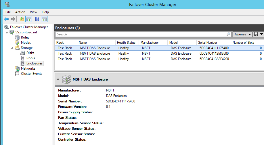 Failover Clustering Manager Enclosures